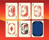 Playing cards diamonds set