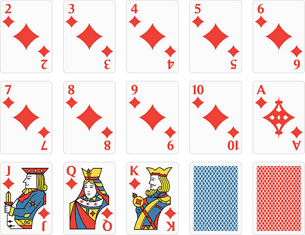 Playing Cards Diamonds Set vector art illustration