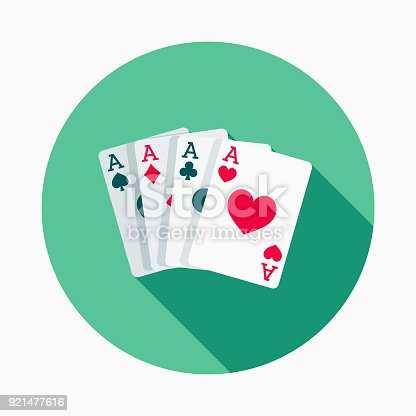 A flat design styled casino icon with a long side shadow. Color swatches are global so it's easy to edit and change the colors.