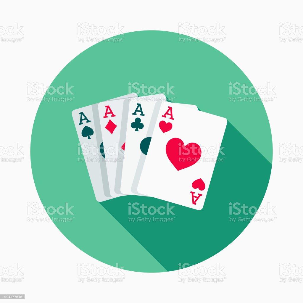 Jogando cartas Flat Design Casino ícone com sombra do lado - ilustração de arte em vetor