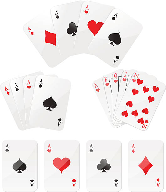 Playing cards Four aces and  Royal Flush Four aces and  Royal Flush.  Eps 10. poker stock illustrations