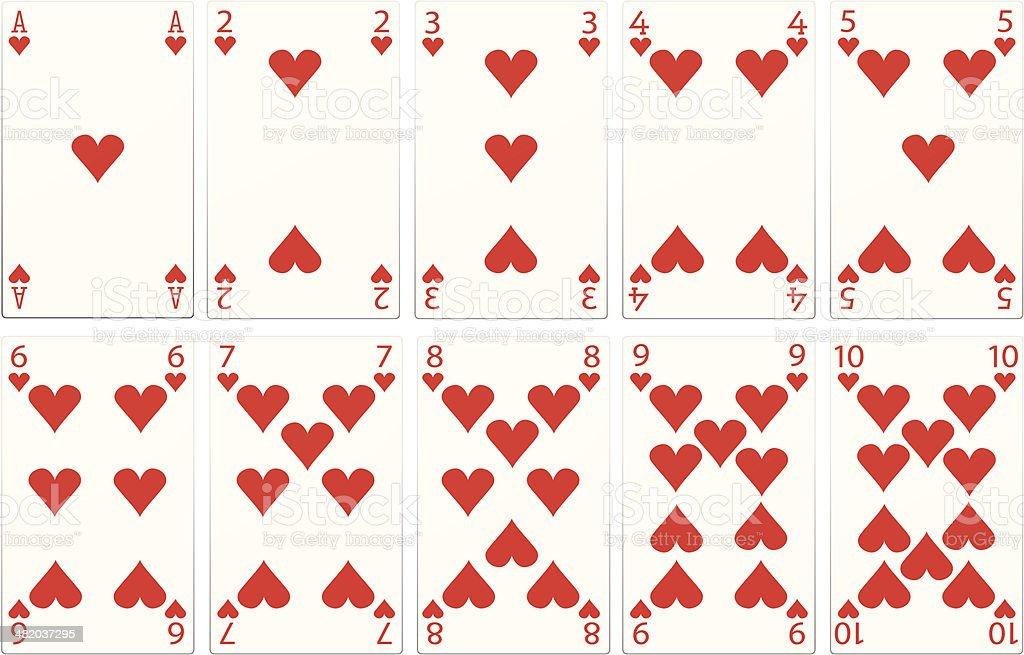 Playing cards, Heart Suit vector art illustration