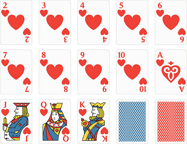 Playing Cards Hearts Set vector art illustration