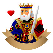 Playing cards King of heart with banner