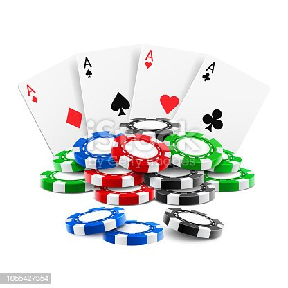 Playing cards near stack of casino 3d chips or aces of spades, diamond, hearts and clubs near realistic gambling tokens for sport poker, blackjack. Gamble and game, online casino theme