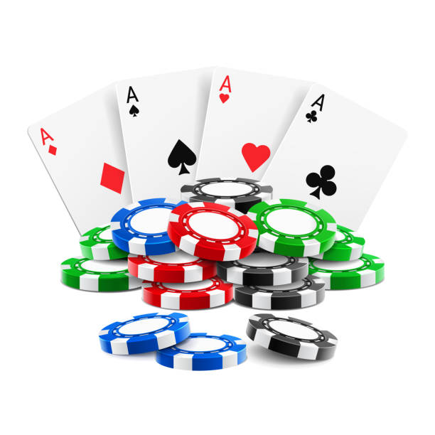 Playing cards near stack of casino 3d chips Playing cards near stack of casino 3d chips or aces of spades, diamond, hearts and clubs near realistic gambling tokens for sport poker, blackjack. Gamble and game, online casino theme gambling chip stock illustrations