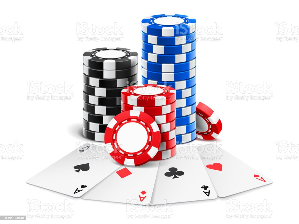 Playing Cards Near Stack Of Casino 3d Chips Stock Illustration