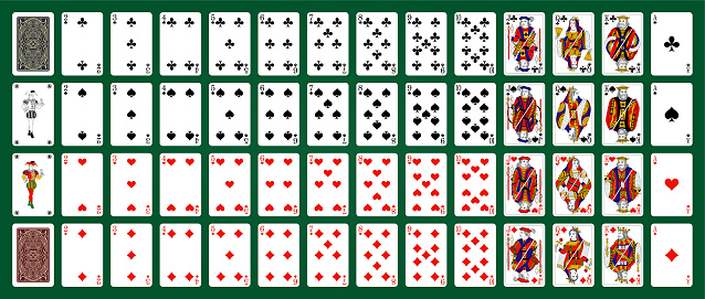 Playing cards of Hearts on a white background. Vector illustration.  Original design.