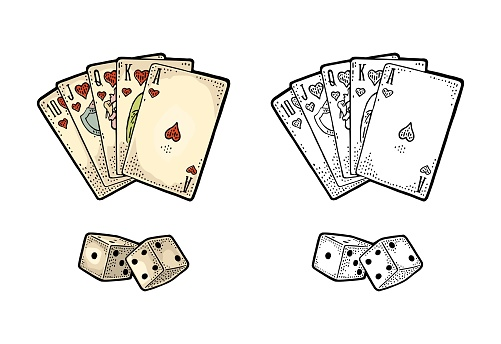 Playing cards poker and two white dice. Vintage engraving