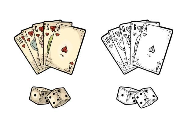 stockillustraties, clipart, cartoons en iconen met speelkaarten poker en twee witte dobbelstenen. vintage gravure - dobbelsteen