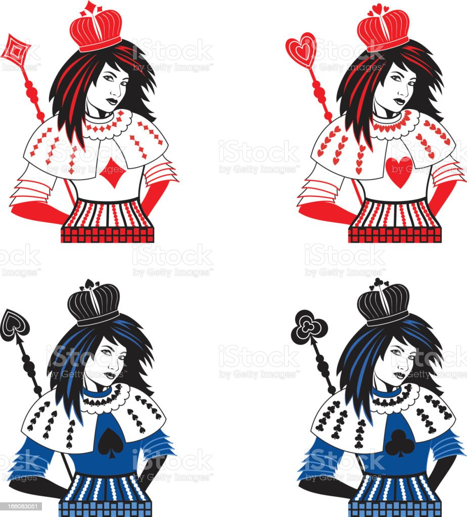 Playing Cards Queens vector art illustration