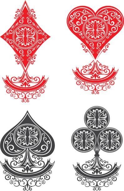 Jugando tarjetas conjunto - ilustración de arte vectorial