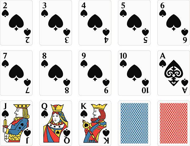 Playing Cards Spades Set vector art illustration