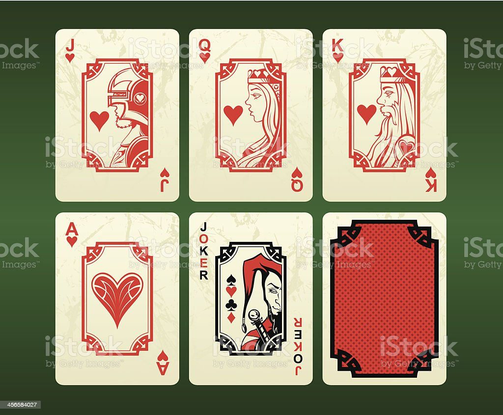 Playing cards (hearts) vector art illustration