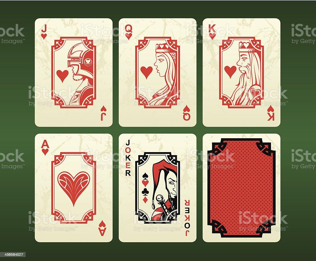 Jogando cartas (Corações - ilustração de arte em vetor