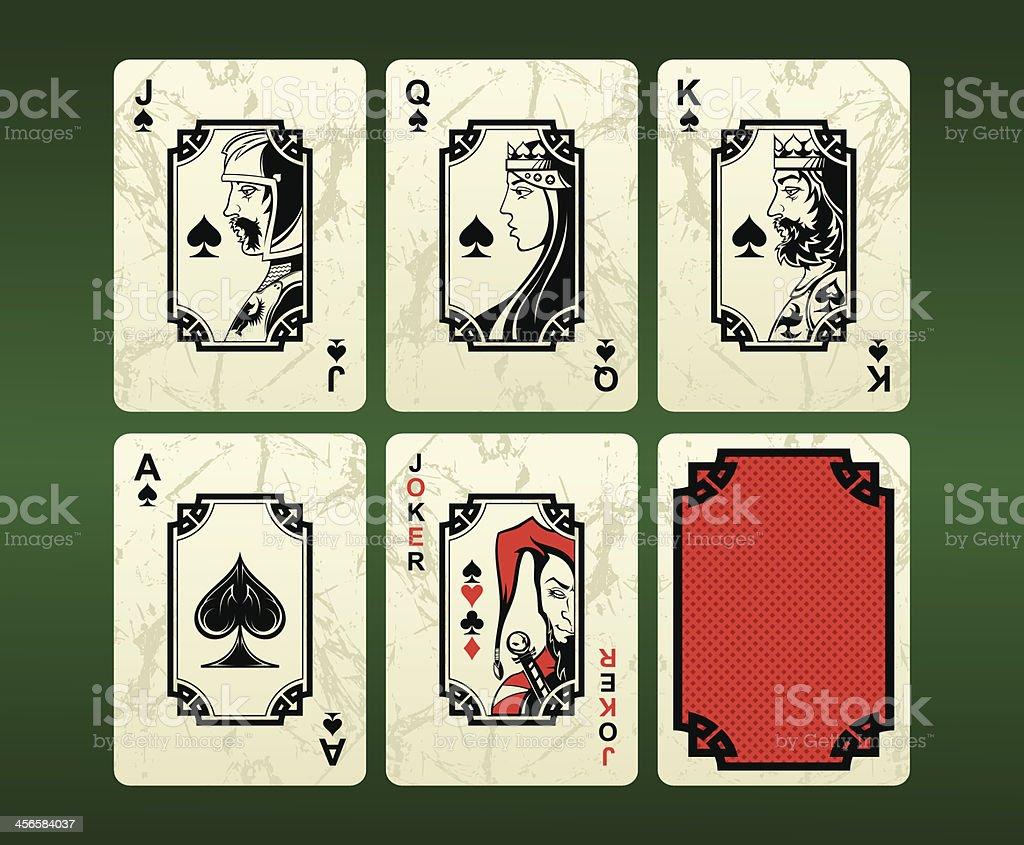 Jogando cartas (espadas - ilustração de arte em vetor