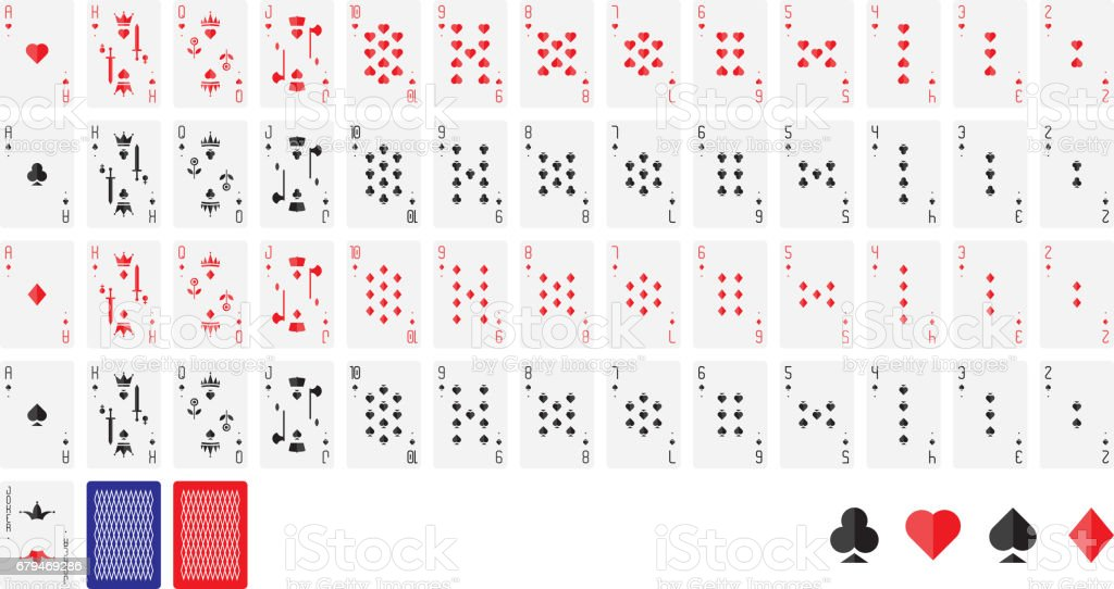 Playing cards, vector illustration. Poker set isolated on white background vector art illustration
