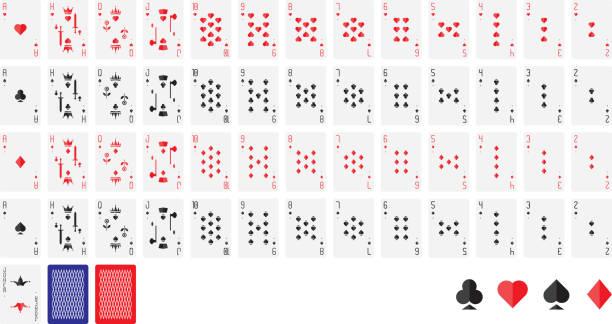 spielkarten, vektor-illustration. poker set isolierten auf weißen hintergrund - holzdeck stock-grafiken, -clipart, -cartoons und -symbole
