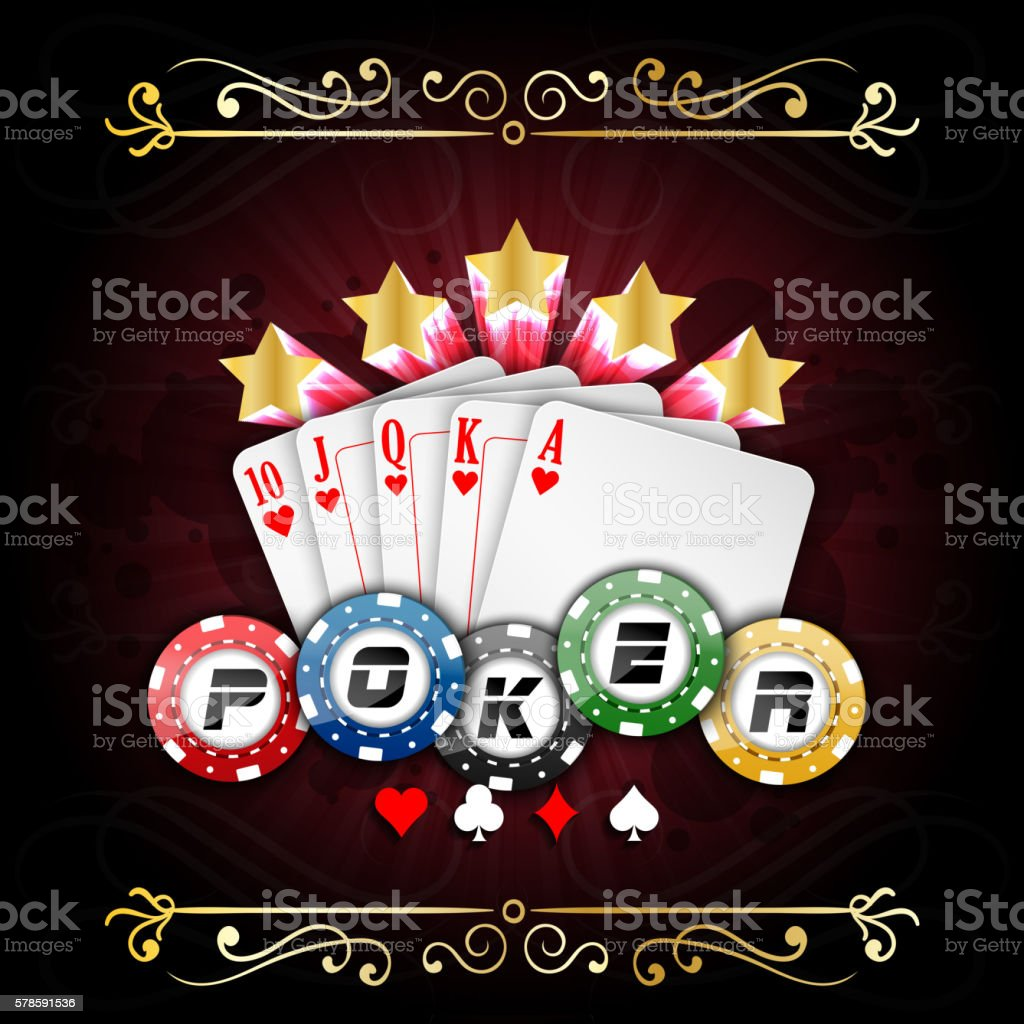 Playing cards with poker chips vector art illustration