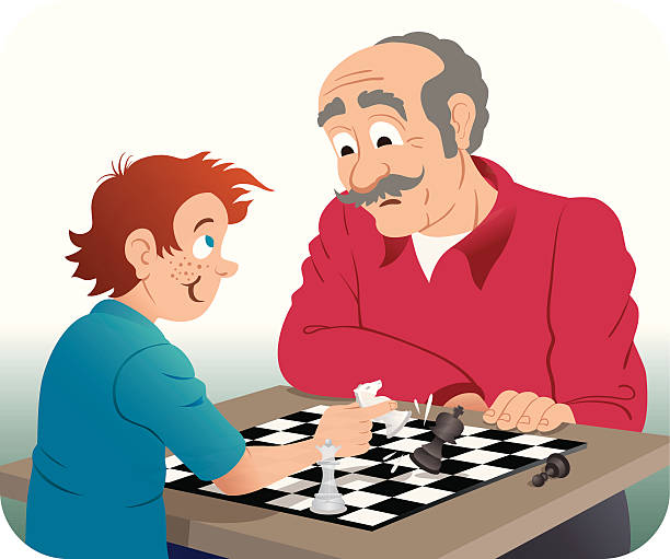 playing chess with grandpa - old man playing chess cartoon stock illustrations, clip art, cartoons, & icons