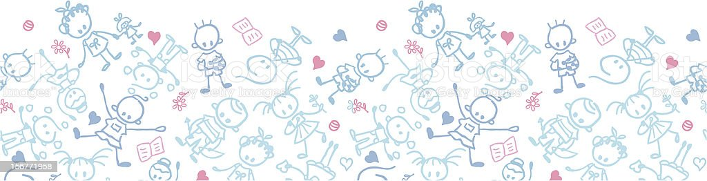 Playing children Horizontal seamless ornament royalty-free playing children horizontal seamless ornament stock vector art & more images of backgrounds