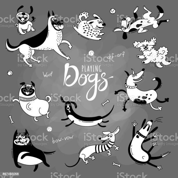 Playing dogs funny lapdog happy pug mongrels and other breeds set of vector id897493058?b=1&k=6&m=897493058&s=612x612&h=vc3wd3pkemiesy0hx2vd8vtddk60nniw4pul74m1his=