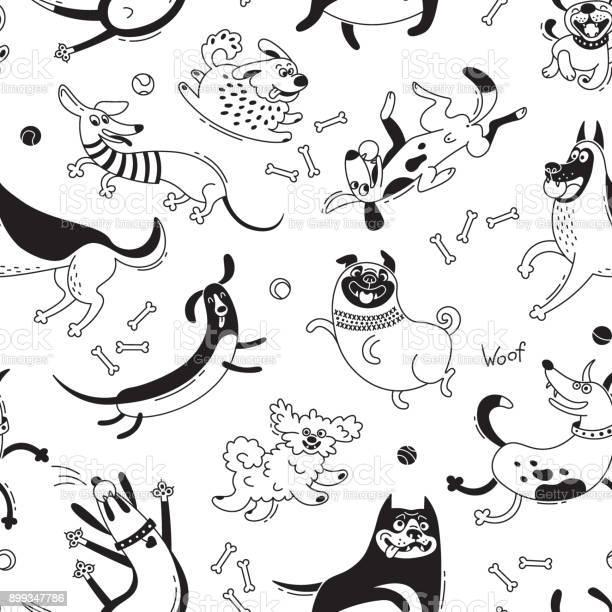 Playing dogs seamless pattern funny lapdog happy pug mongrels and vector id899347786?b=1&k=6&m=899347786&s=612x612&h=7oca 7zrzm2 dvefidocf83kl6znvralbrcsy z2neu=