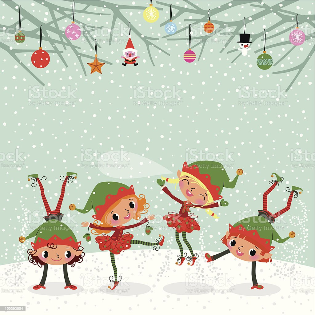 Playing Elves. royalty-free stock vector art