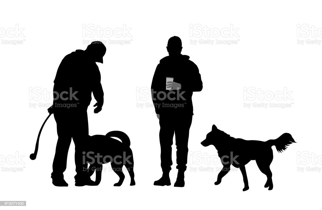 Playing Fetch At The Park vector art illustration