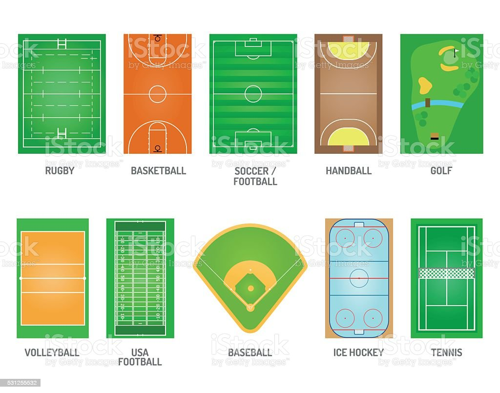 Playing fields vector set vector art illustration
