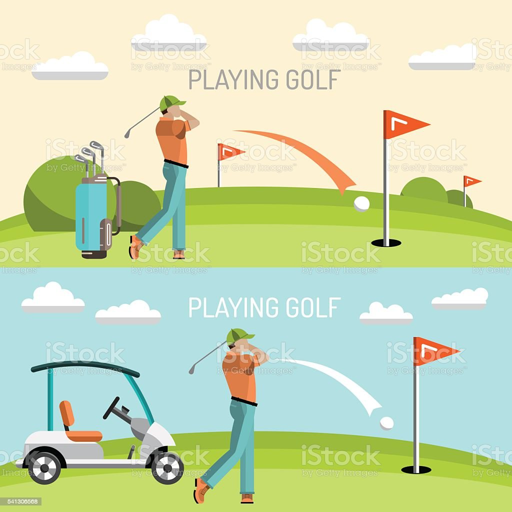Playing game golf vector art illustration