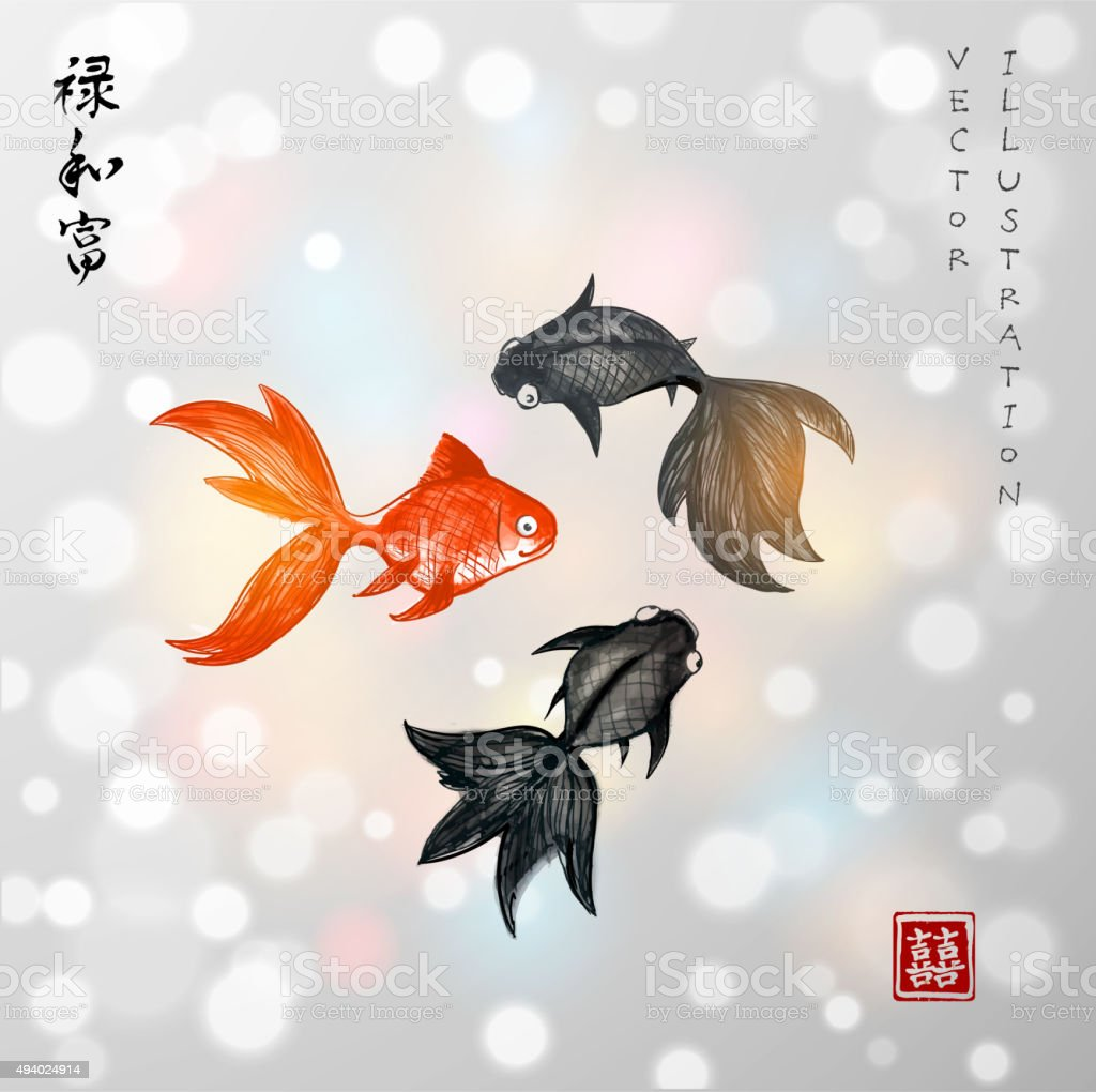 Playing goldfishes on blurred glowing background vector art illustration