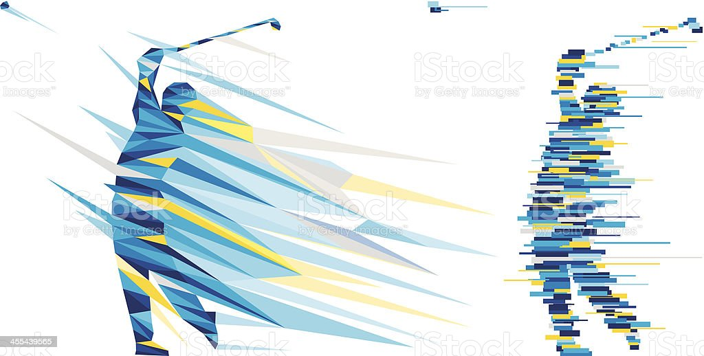 playing golf ball vector art illustration