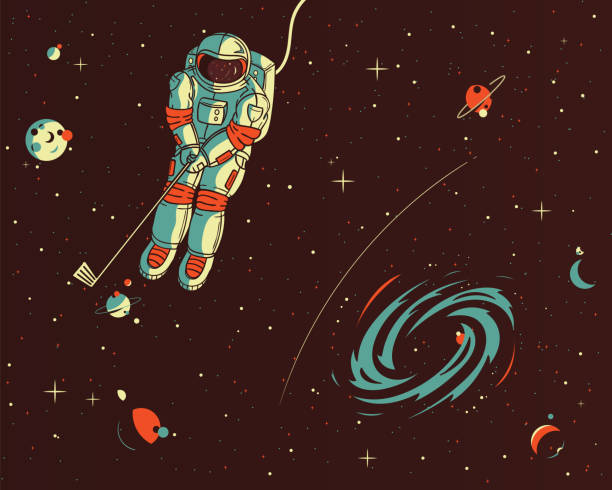 Playing golf wih the stars vector illustration It's a colored illustration of an astronaut playing golf into the space with planets astronaut floating in space stock illustrations
