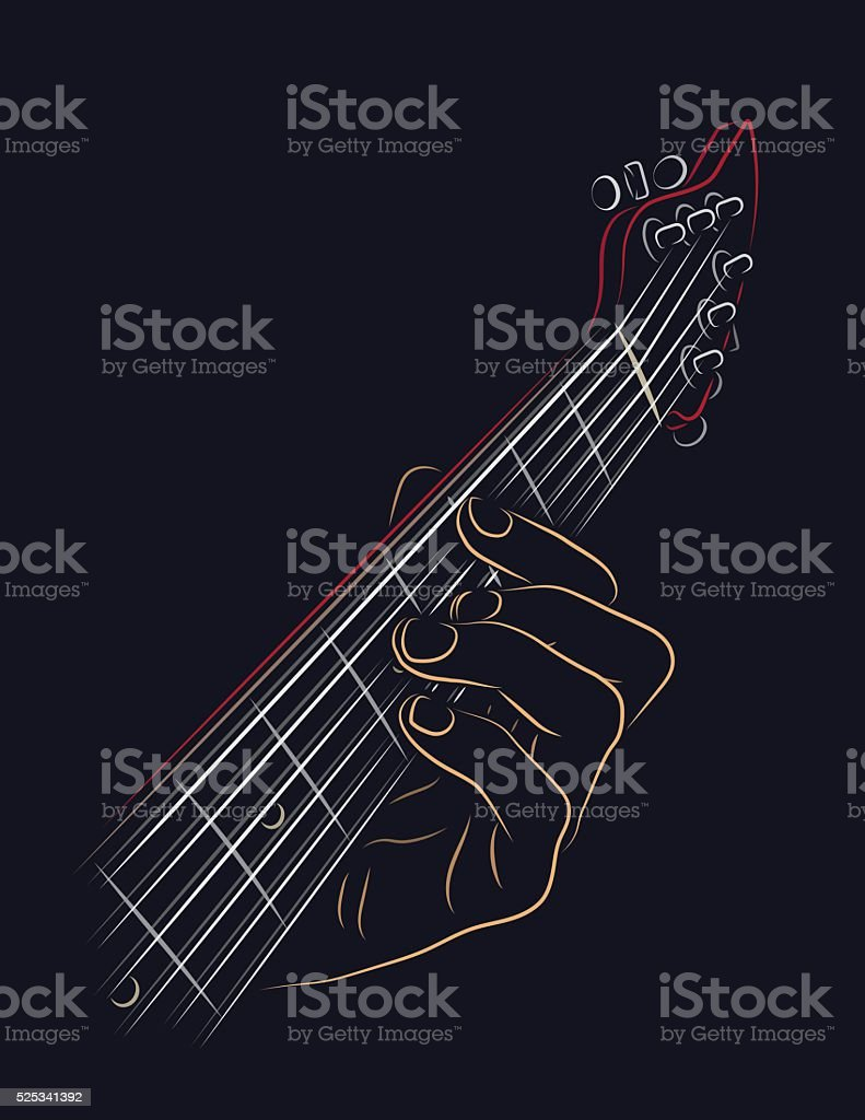 Playing Guitar Chord Stock Vector Art More Images Of Arts Culture