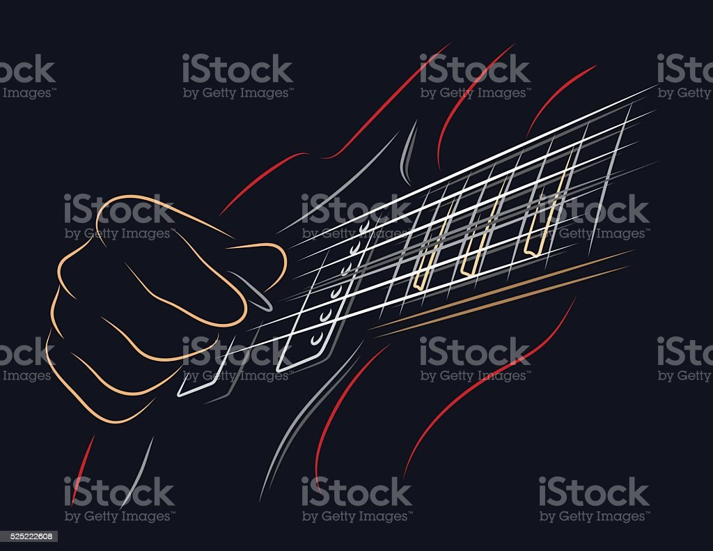 Playing guitar vector art illustration