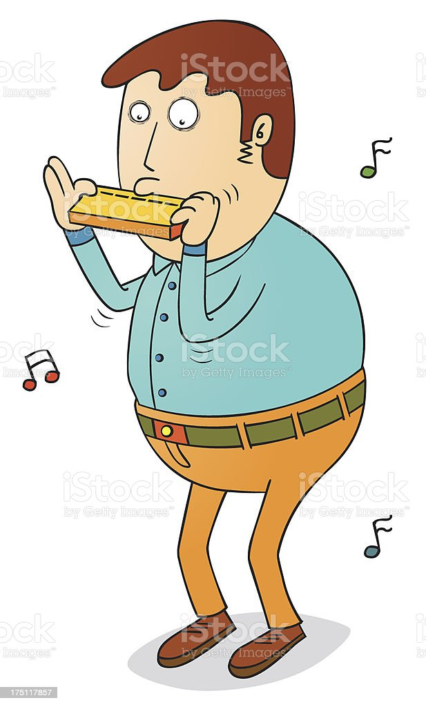 playing harmonica royalty-free stock vector art
