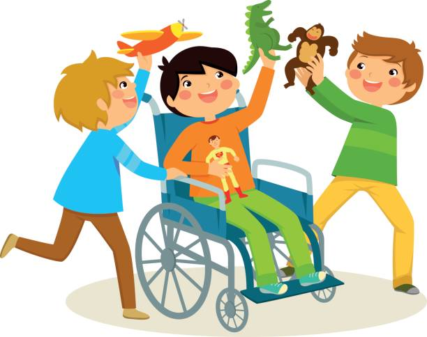 playing in a wheelchair vector art illustration