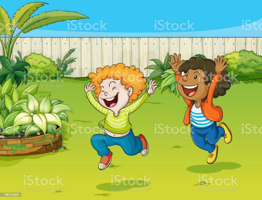 Playing kids in a garden royalty-free stock vector art
