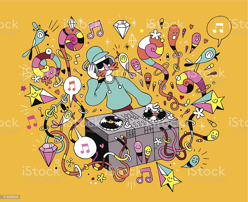 DJ playing mixing music on vinyl turntable cartoon illustration vector art illustration