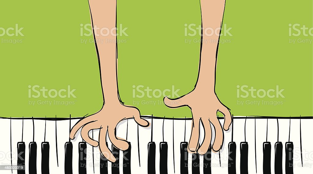 Playing my Piano sketch royalty-free stock vector art