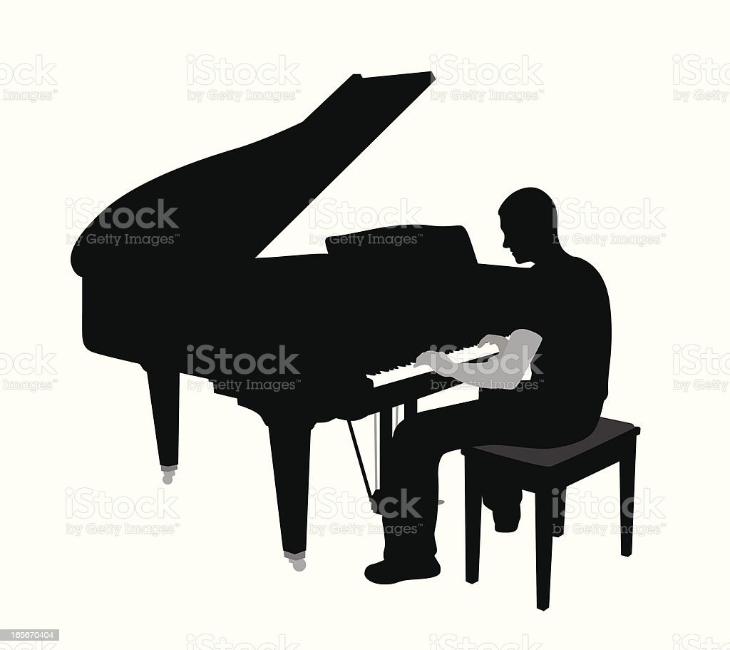 Playing Piano Vector Silhouette Royalty Free Stock Art Amp
