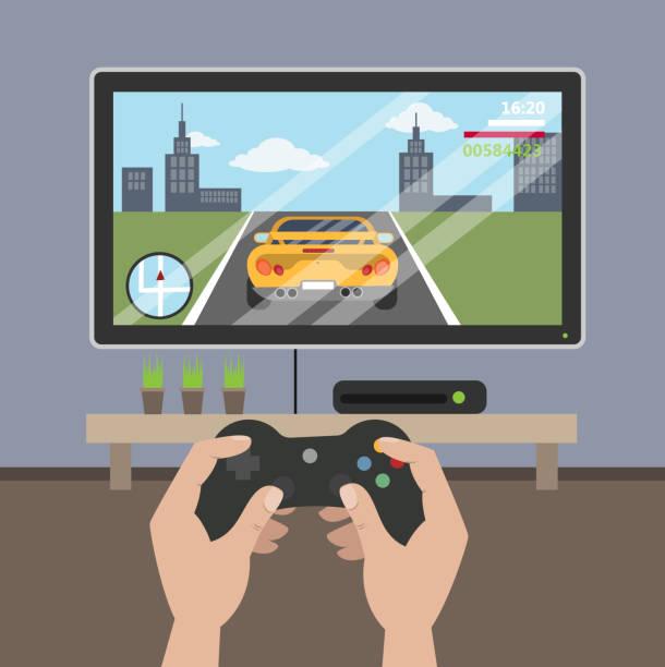ilustrações de stock, clip art, desenhos animados e ícones de playing racing videogame. - man joystick