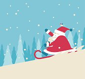 Vector illustration - Playing Snow Sled