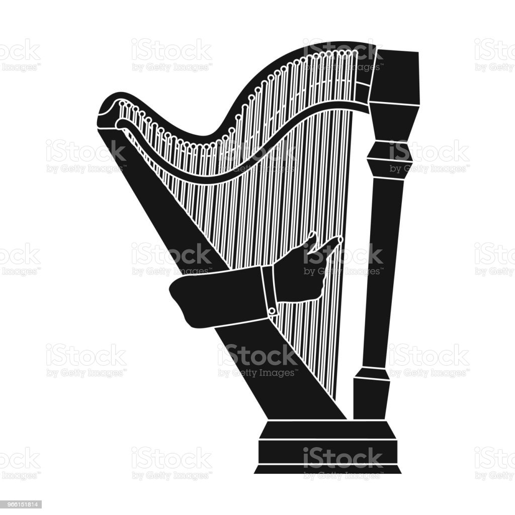 Playing the harp stringed musical instrument. Orchestral harp single icon in black style vector symbol stock illustration web. - Royalty-free Gesturing stock vector
