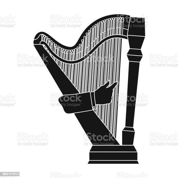 Spela De Harpa Stålsträngad Musikinstrumentet Orkestrala Harpa Enda Ikon I Svart Stil Vektor Symbol Stock Illustration Web-vektorgrafik och fler bilder på Form