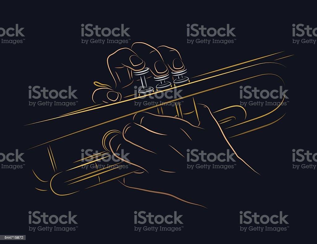 Playing trumpet vector art illustration