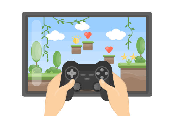 ilustrações de stock, clip art, desenhos animados e ícones de playing video game on big screen. - man joystick