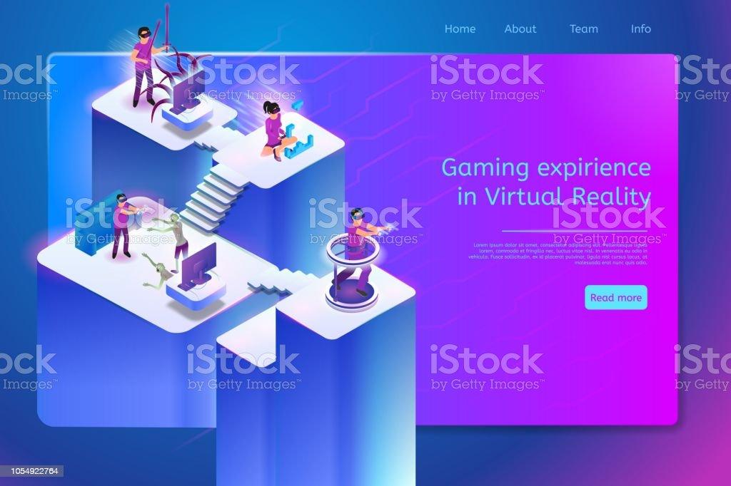 Ilustracion De Jugar Juegos De Realidad Virtual Online Vector Banner