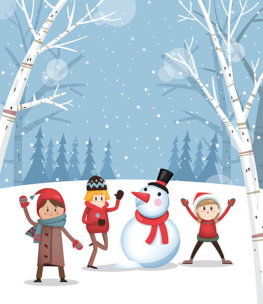 playing with a snowman b - holiday background stock illustrations